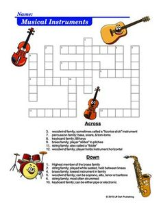 For grades 3 - 6; students identify the correct instrument from their instrumental family and how it is played.