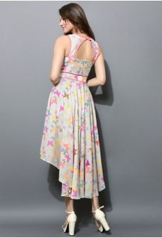 Butterfly Print Asymmetric Waterfall Dress - Retro, Indie and Unique Fashion