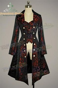 Gothic Aristocrat: Embellished-Vest Pirate Brocade Unisex Long Jacket/ Frock Coat for Lady Style Steampunk, Steampunk Costume, Steampunk Clothing, Steampunk Fashion, Steampunk Jacket, Gothic Clothing, Gothic Steampunk, Hippie Clothing, Renaissance Clothing