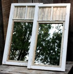 *The Brambleberry Cottage*: Mirror, Mirror - Repurposed windows and beadboard! Vintage Windows, Old Windows, Windows And Doors, Barn Windows, Antique Windows, Old Window Frames, Window Mirror, Mirror Mirror, Window Ideas