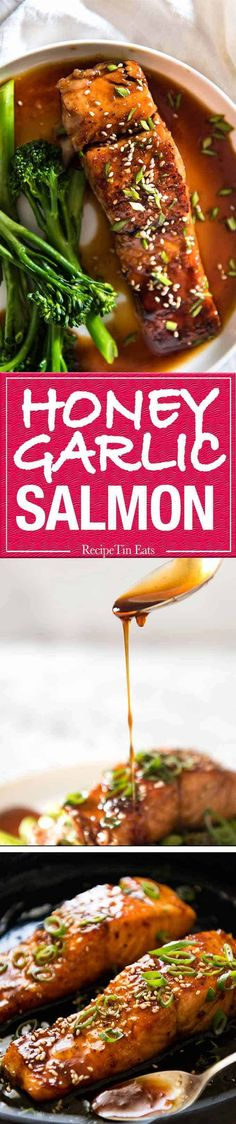 A Spectacular Way To Serve Salmon Which Is Crazy Fast, Crazy Easy And Crazy Delicious Honey Garlic Salmon Salmon Recipes, Fish Recipes, Seafood Recipes, Asian Recipes, New Recipes, Dinner Recipes, Cooking Recipes, Favorite Recipes, Healthy Recipes