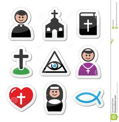 Religion, Catholic Church  Icons Set - Download From Over 39 Million High Quality Stock Photos, Images, Vectors. Sign up for FREE today. Image: 30466236