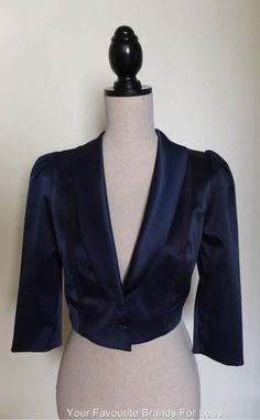 Review Blue Size 10 Satin Crop Evening Jacket Fully Lined New With Tags