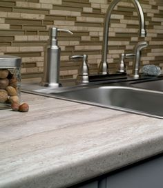 Think we've found our countertops (ignore the ugly backsplash). Travertine Silver by Formica – Yes It's Laminate ! Travertine Countertops, Formica Kitchen Countertops, Kitchen Countertop Materials, Kitchen Redo, Kitchen And Bath, New Kitchen, Kitchen Ideas, Awesome Kitchen, Kitchen Magic