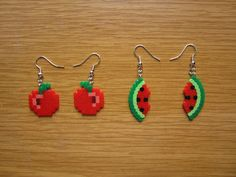 Pendientes fruta tomate  y sandia hama beads by Ursula