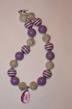 "19""  Sofia the First inspired Bubbble Gum Bead Necklace"