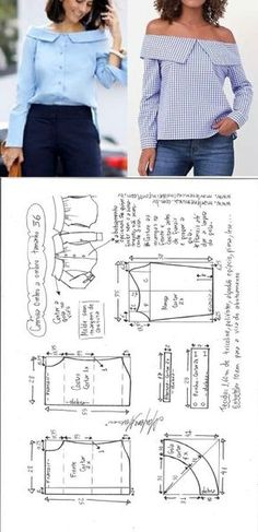 Sewing Clothes Camisa manga ombro a ombro Fashion Sewing, Diy Fashion, Ideias Fashion, Sewing Patterns Free, Free Sewing, Free Pattern, Blouse Patterns, Clothing Patterns, Skirt Patterns