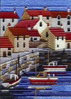 Coastal Summer Long stitch kit using tapestry wools by Derwentwater Designs. Features a fishing boats harbour scene. Contents: Wools, metallic threads, 14 count canvas (design outline printed), needle and full instructions. Modern Embroidery, Ribbon Embroidery, Embroidery Art, Cross Stitch Embroidery, Embroidery Patterns, Cross Stitch Patterns, Bargello Needlepoint, Needlepoint Stitches, Needlework