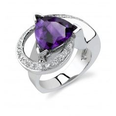 14K White Gold Arizona Four Peaks Amethyst & Diamond Ring created by Sami Fine Jewelry.