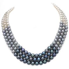 DaVonna Sterling Silver White, Black, and Grey Fade Freshwater Pearl Necklace mm) 17 & 18 inches), Women's, Size: 18 Inch Freshwater Pearl Necklaces, Pearl Jewelry, Sterling Silver Necklaces, Beaded Jewelry, Fine Jewelry, Jewelry Necklaces, Silver Bracelets, Dainty Jewelry, Glass Jewelry