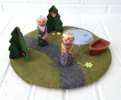 Felt Play Mat pond tree lined path peg doll by sanctusstitches