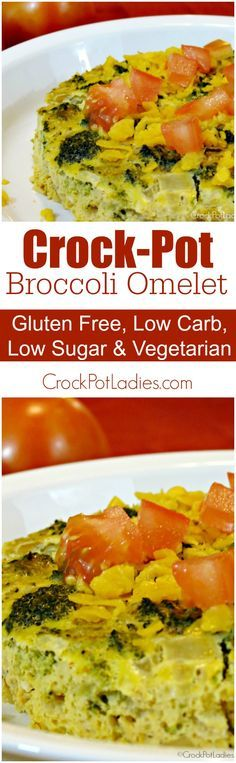 "Crock-Pot Broccoli Omelet - Some folks may call this a ""crustless quiche"" but I am going rogue and naming this dish Crock-Pot Broccoli Omelet instead. This slow cooked omelet is an easy healthy recipe to make for your family for breakfast or for sneaking"