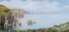 West Coast of Sark Showing Les Autelets by Rolfe Falls; 1902; Oil on canvas; Collection: Guernsey Museums and Galleries, Isle of Guernsey