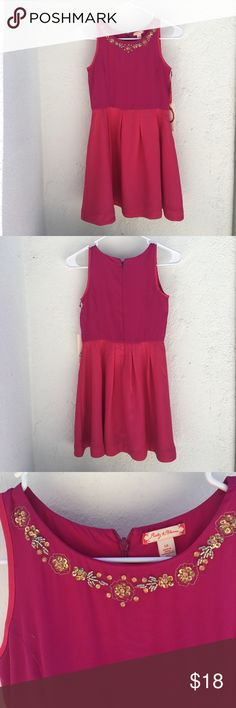 Fuschia Dress Fischia dress with hot pink skirt, gold embellishments around neckline ruby & bloom Dresses Casual