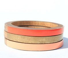 tangerine, peach and metallic gold skinny bangle set.