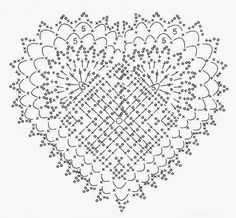 heart crochet doily chart
