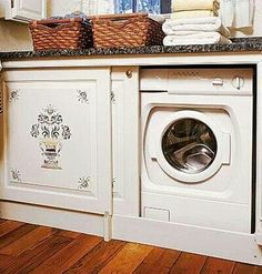 Laundry room - washer and dryer in a cabinet, complete with flat countertop for folding laundry. I would probably prefer regular cabinet doors over sliding doors, but I think this is a fantastic idea. If only I had a front-load washer/dryer. Hidden Laundry Rooms, Concealed Laundry, Laundry Cabinets, Laundry Cupboard, Laundry Closet Makeover, Laundry Solutions, Folding Laundry, Front Load Washer, Cute Home Decor