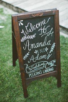 Chalkboard welcome sign http://southernweddings.com/2014/07/31/black-tie-beach-wedding-by-kaytee-lauren/