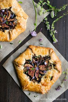 Caramelized Onion and Fig Galette with Goat Cheese and Herbs
