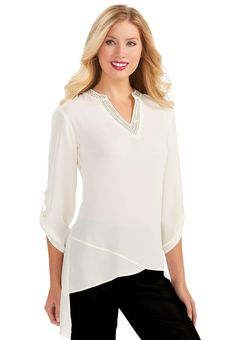 b6902e0f9601c0 Semi Sheer Asymmetrical Tunic Top-Plus Tops Cato Fashions Chico Dresses