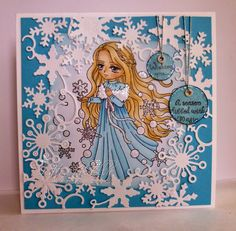 My Creative Moments: Winter Princess Whimsy products used: Winter princess, build a snowman, snowflake border die Metal Crafts, Paper Crafts, Winter Princess, Whimsy Stamps, Build A Snowman, Watercolor Pencils, Cute Cards, Clear Stamps, Paper Design