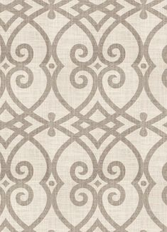 """Jaclyn Smith Fabric 02616 Dove Grey.  Jaclyn Smith Home Fabric - Geometric gate scroll fabric, Durable, 30,000 double rubs, perfect for upholstery fabric, drapery fabric, headboards, bedspreads or pillow covers. 55% linen / 45% rayon. Repeat; H 9"""" x V 12"""" . 54"""" wide."""