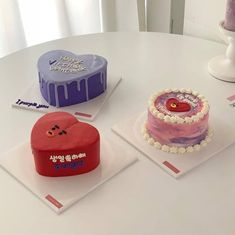 credits to the owner discovered by ♡. Pretty Birthday Cakes, Pretty Cakes, Cute Cakes, Sweet Cakes, Mini Cakes, Cupcake Cakes, Bts Cake, Korean Cake, Pastel Cakes