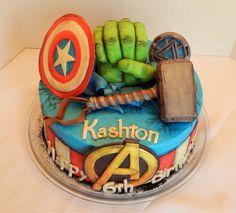 Kashton's Avengers cake! 12 inch round 2 layer cake with...
