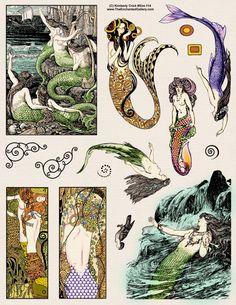 Art Deco Nouveau Decorative Klimt Mermaid rubber stamps and story book siren