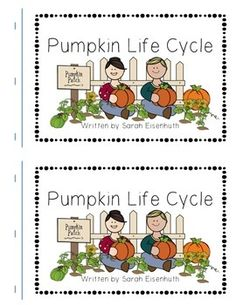 """This FREE download consists of a Pumpkin Life Cycle predictable text book.  Your students will read the sight words """"I"""", """"can"""", """"see"""", and """"the"""" as they learn about the pumpkin life cycle.  Full color illustrations and bolded words help students decode the content words """"seed"""", """"sprout"""", """"plant"""", """"vine"""", """"flower"""", """"green pumpkin"""", """"orange pumpkin"""", and """"pumpkin pie"""".This book is ideal for a Kindergarten or first grade pumpkin unit or a take home reading book to share what you are learning in…"""