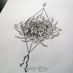 Chrysanthemum tattoo with minimalist geometric compass/arrow background