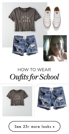 """School Outfit 1"" by aerishatt on Polyvore featuring American Eagle Outfitters and Converse"