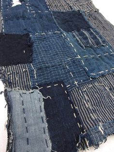 "vintage Japanese indigo boro fabric ""RANRU"" ""SHIMA"" ""AIZOME""  stripe design  Free shipping!  No.17011203"