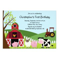 Deals Cute Farm Animal Birthday Party Invitations We have the best promotion for… Party Animals, Farm Animal Party, Farm Animal Birthday, Barnyard Party, Farm Birthday, 1st Birthday Parties, Barnyard Animals, Birthday Ideas, Farm Party Invitations