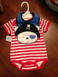 pirate baby bib and shirt