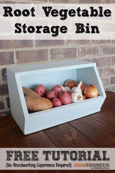 Easy DIY Root Vegetable Storage Bin - Free Plans + Tutorial - Rogue Engineer on @Remodelaholic