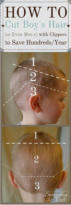 How to Cut Boy's Hair (or Even Men's) with clippers! Step by step photos and a quick video from http://somedayatatime.com