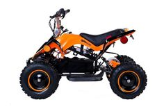 GIO Manteray 500w Kids Mini Electric ATV - Orange. This Electric Mini ATV is so well built, your friends and competitors will think it's gas powered! Featuring a full-sized rer rack and front bumper. Can reach speeds of up to 30Km/h.