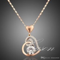 Wholesale Fashion Love Heart Chain Pendant 18k Rose Gold Plated Austrian Crystal…
