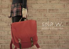Waxed Canvas Backpack in Red Vegan Rucksack Messenger by solaWu