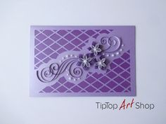 Handmade Quilling Card with  3D Paper Flowers in Lilac by TipTopArtShop