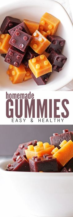 My kids LOVE this easy recipe for healthy homemade gummies! I love that there's no junk and that they're ready in just 15 minutes. They won't melt in a lunchbox and can be made with fruit juice or whole fruit puree - perfect for using up the last little bits of produce to avoid the trash can (and that saves money!) :: DontWastetheCrumbs.com Fruit Salad Recipes, Fruit Snacks, Healthy Snacks, Snack Recipes, Food Salad, Snacks Ideas, Juice Recipes, Healthy Kids, Kids Meals