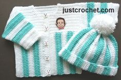 Free baby crochet pattern for stripey coat & bobble hat http://www.justcrochet.com/coat-bobble-hat-usa.html #justcrochet