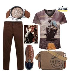 """""""Street style - brown"""" by leonnestyle ❤ liked on Polyvore featuring men's fashion and menswear"""
