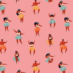 Hula dancers in pink fabric by tasiania on Spoonflower - custom fabric