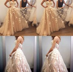 Gorgeous Handmade Flowers Appliques Sweetheart Strapless Ball Gown Prom Dresses