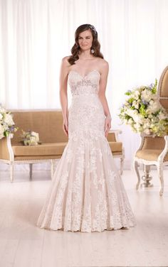 Essense D2042 lace over Dolce satin fit-and-flare strapless lace wedding dress with your choice of a lined or unlined bodice.