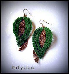 Earrings (Idrija Lace) Lace Heart, Lace Jewelry, Lace Making, Bobbin Lace, String Art, Lace Detail, Crochet Earrings, Butterfly, Create