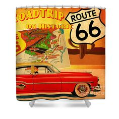 Vintage Shower Curtain featuring the painting Roadtrip by Cinema Photography