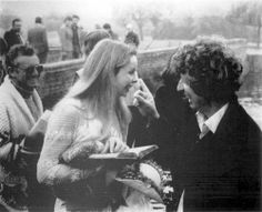Lalla Ward and Tom Baker on set for Doctor Who.